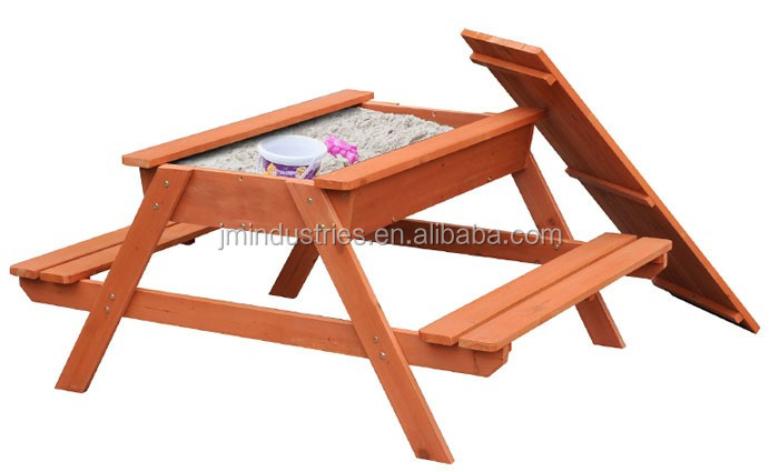 Outdoor Solid Wood Children Kids Sandpit Picnic table