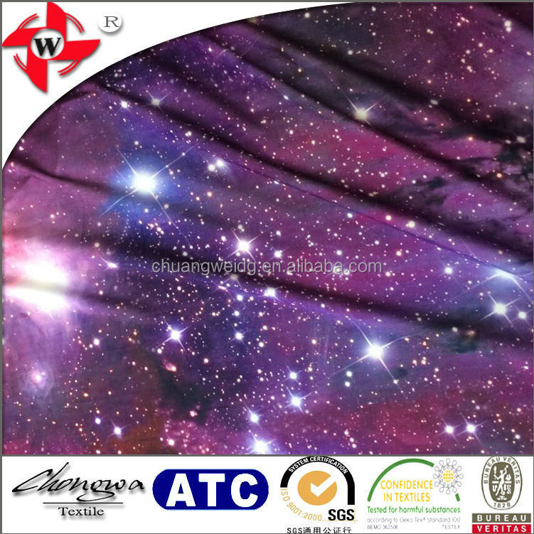Polyester spandex fahion print fabric galaxy and nebula for Nebula fabric by the yard