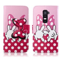 Pink bowknot cute flip wallet stand leather case for LG G2