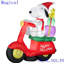 Snoopy Woodstock On Moped Scooter Christmas Inflatable 6 feet tall