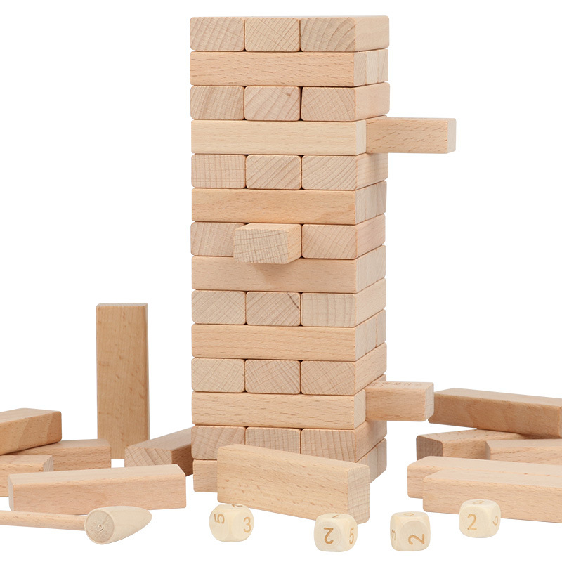 54pcs Wooden Board Games Tumbling Tower Building Blocks Jenga