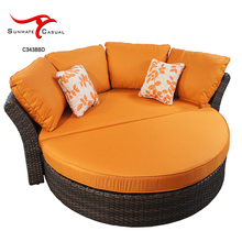 Waterproof Patio Wicker Rattan Furniture Round Sun Bed Outdoor Daybed