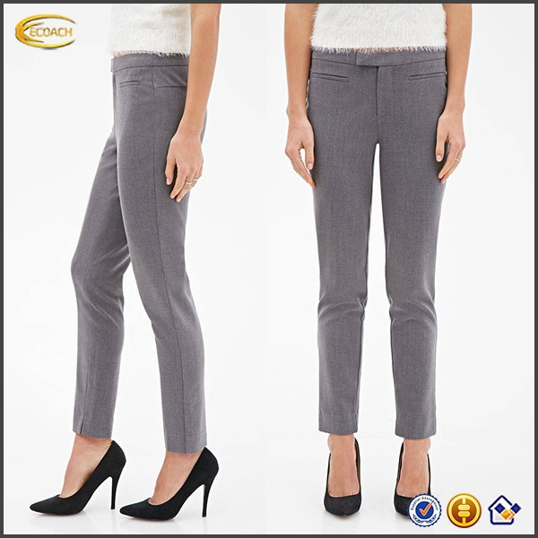 OEM China manufacturer long shirts trousers for women custom slim lady trousers