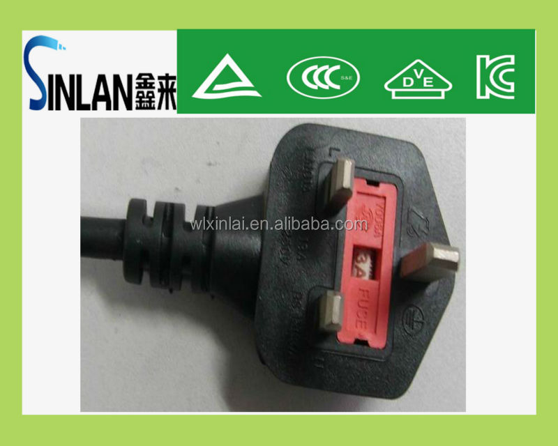 AC uk plug/13A plug 3 flat pin British Plug with BS 1363