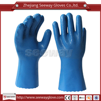Seeway Full Nitrile Coated Chemical Resistant Anti-oil Liquid Proof Pesticide Work Gloves Cotton Lining Powder Free