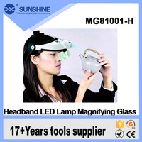 Battery operated 5 lens adjustable headband magnifier with led lamp for antique inspection