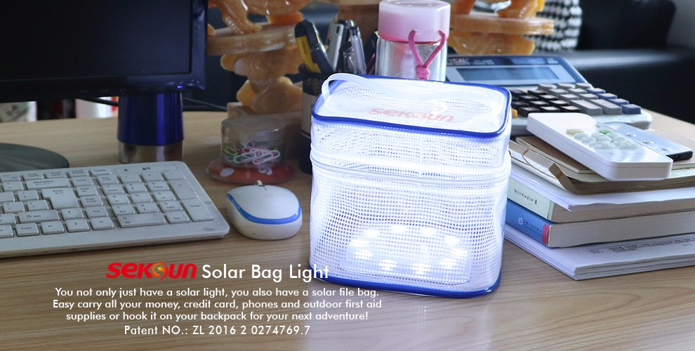 CE, Rohs seksun outdoor pvc makeup bag for portable multifunctional solar camping led light