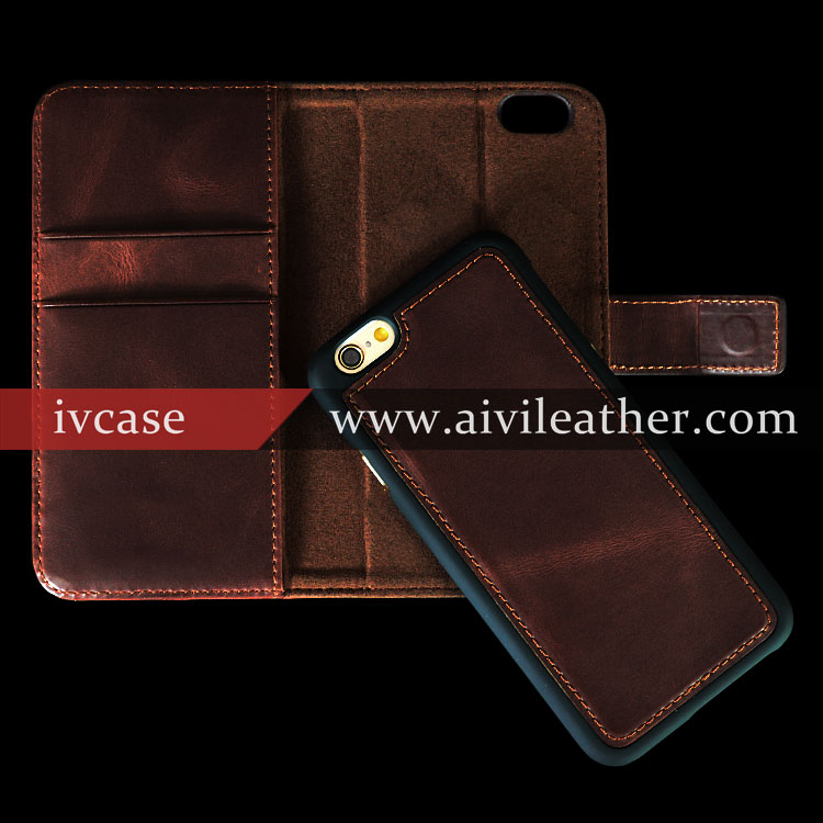 Luxury italy leather cases for wallet phone case iPhone 6 plus with card pouch for credit card