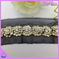 Lace trimming beaded ribbon trim /pedreria fashion trim crystal designs made in China