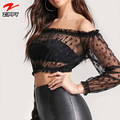 2018 Latest Mesh Sexy Crop Top Long Sleeve Lace Top Women Summer Blouse