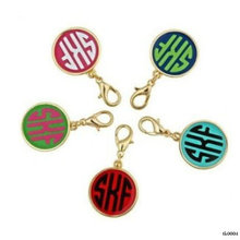 Fashion Wholesale Monogrammed Disc Enamel Key Chain