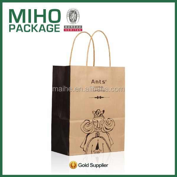 Customized high quality craft printed shopping paper bag