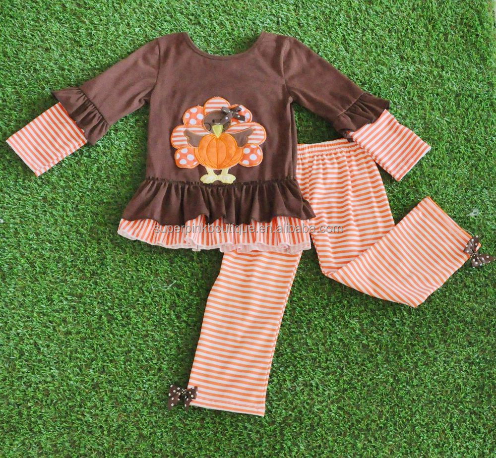 thanksgiving day children's fall winter turkey cotton boutique clothing
