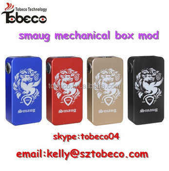 Tobeco new release smaug mod box mod on hot selling mechanical smaug box mod 18650 box mod in stock