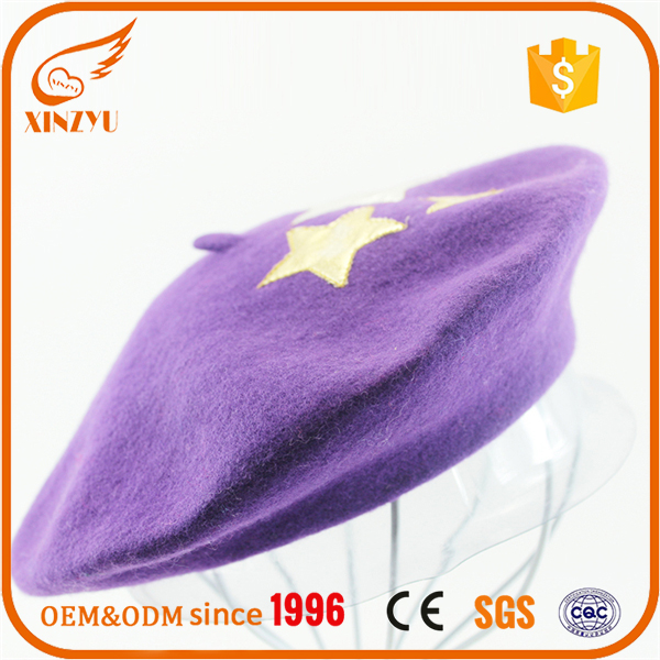 Colourful star logo ladies fashion hats basque custom embroidered beret