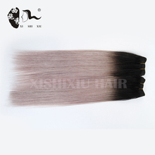 stock #1B/Gray Human Hair 7A Brazilian Virgin hair Silver Grey Hair Weave 3 Pcs/Lot silk straight ombre hair weave