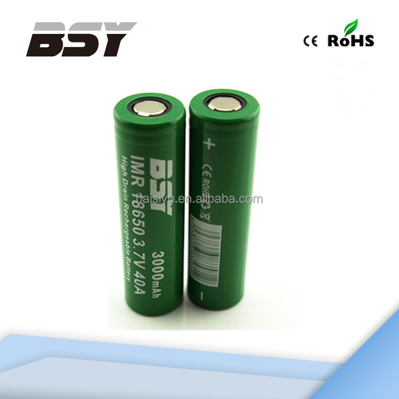 BSY rechargeable batteries 18650 3000mAh deep cycle battery 40A Max Discharge 3.7V flat cell lithium ion battery for power tool