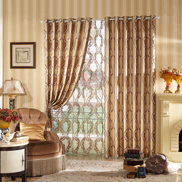 Solid Drapery Window Curtains Metal Grommet Jacquard Panel
