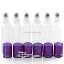 5ml 10ml(1/3oz) white frosted matt glass roll on bottles Refillable Slim with Metal Ball and Purple Metal Lid