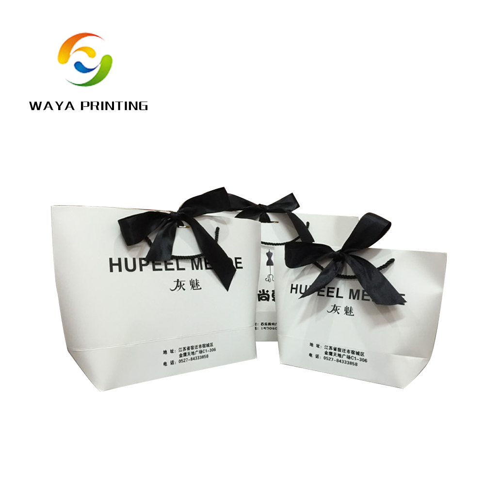 Ribbon tied customized logo purse shaped gift bags with different materials