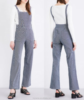 Stretch-cotton square neck striped wide-leg dungarees