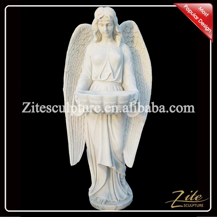 High Workmanship Popular life size white natural marble angel statues