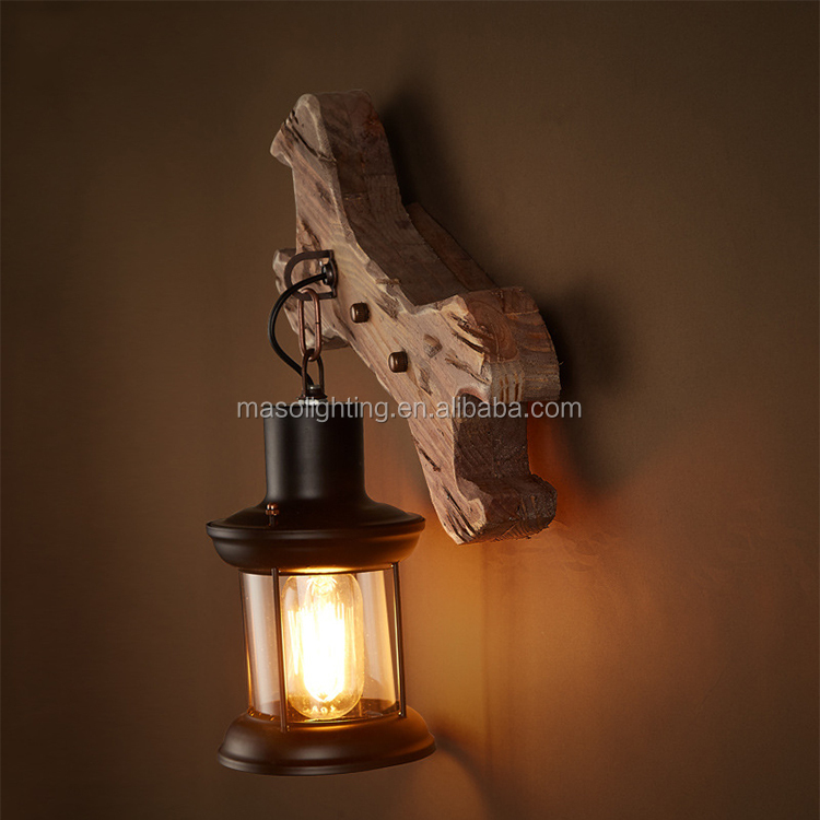 Modern Handmade wood lamp rustic lighting fixtures vintage wall lamp hanging stand wrench sahpe