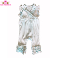 Hot Sale Solid Color Kids Flutter Sleeve Bodysuit Knit Cotton Triple Ruffle Baby Icing Rompers