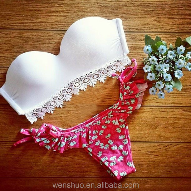 Cute Sex China Bikini Girl Photos Floral Print Brazilian Bikini