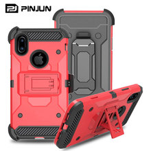 Heavy duty armor cover shock reduction cell phone case for iphone x with blet clip holster