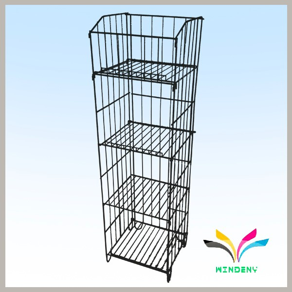 Flooring Stand Powder Coated Metal wire fabric display rack