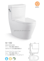 M-189 Grade A Round Sanitary Ware One Piece Closet Side Single Flush Sitting Toilet