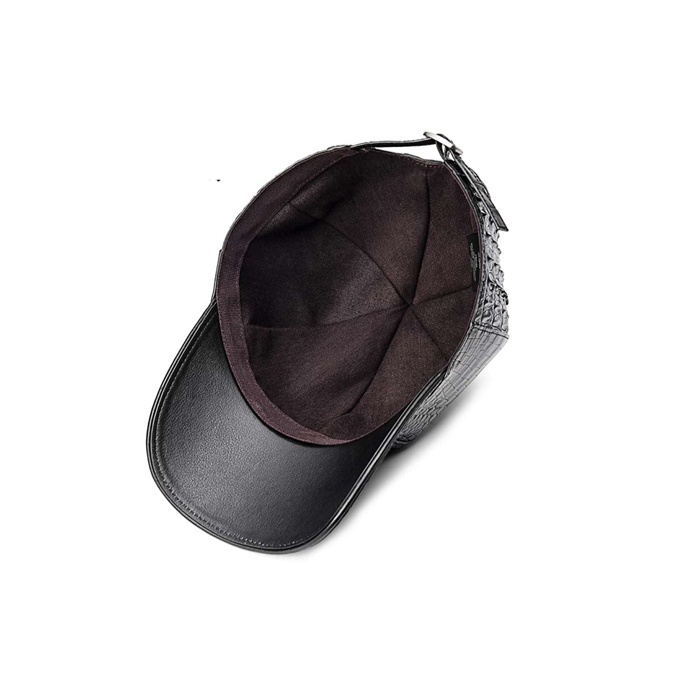 Real Crocodile Hornback Skin Men Leather Cap