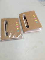 recycled kraft cover sticky note exercise mini pad with pen for promotions