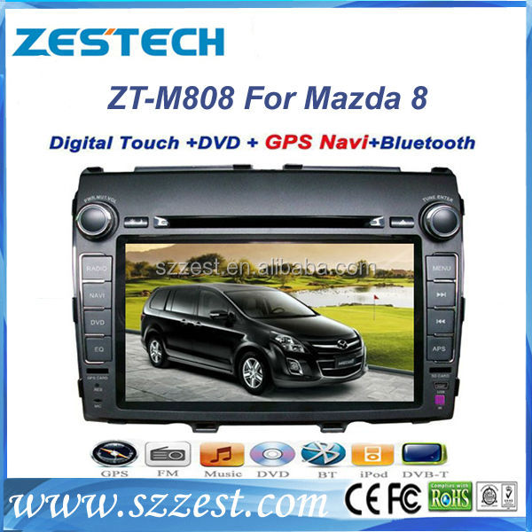 for Mazda 8 Car DVD Player in dash 2 din with HD GPS Bluetooth USB/SD Radio TV Rear camera car navigation DVD