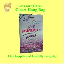 Lavender flavor closet deodorant hang bag with hang hole