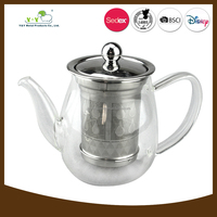 Newest 500ml fire resistant glass teapot&transparent coffee pot