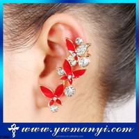 Wholesale Alibaba express gold jewelry butterfly red oil drip cheap cuff earrings SE00015