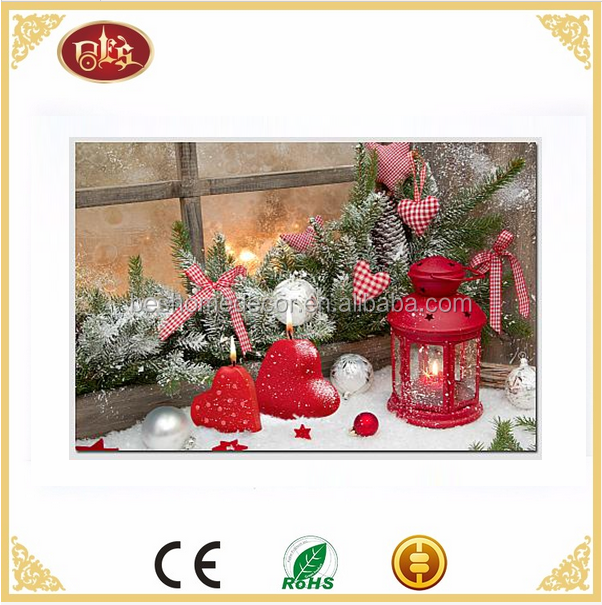 Interior Christmas decoration lantern led wall painting led canvas painting wall art