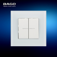Bago Electrical 10A 2 gang 1 way rocker switch for home CE certificate tempered glass panel