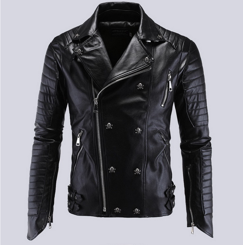 Perfect 2017 Spring Fashion Male Skull Motorcycle Leather Jackets Men's Autumn Casual Bomber Jacket Men Flight Jacket