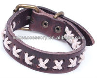 Fashion weave cross real genuine leather bracelet