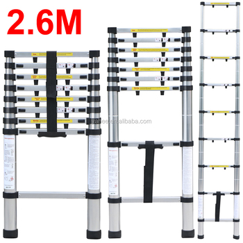 2.6m Anti-pinch Extendable Foldable Telescopic Aluminium Ladders