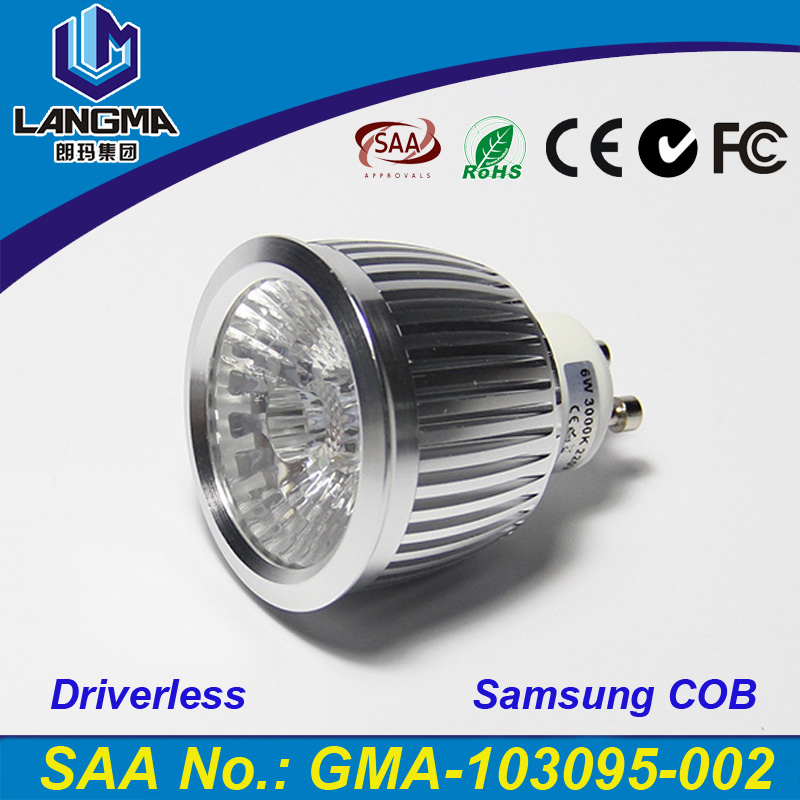 Langma 6W COB light spot GU10 <strong>base</strong> dimmable lamp AC220-240V Samsung LEDs driverless GU10 spot