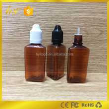 brown color PET material 30ml triangle shape plastic e liquid bottle with child resistant cap and long thin dropper