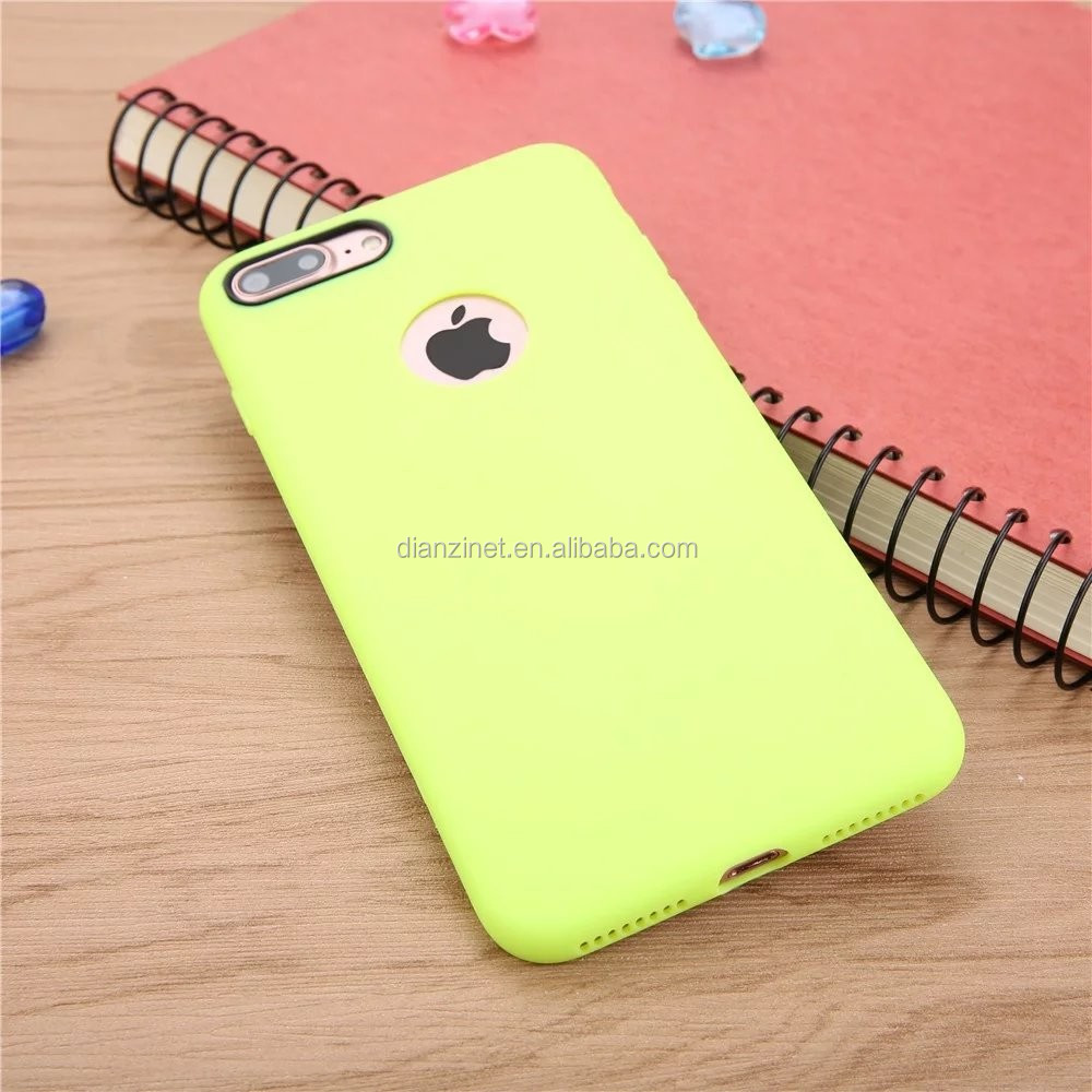 HOT SALE Soft Candy Color Phone Case with logo hole for iPhone 7
