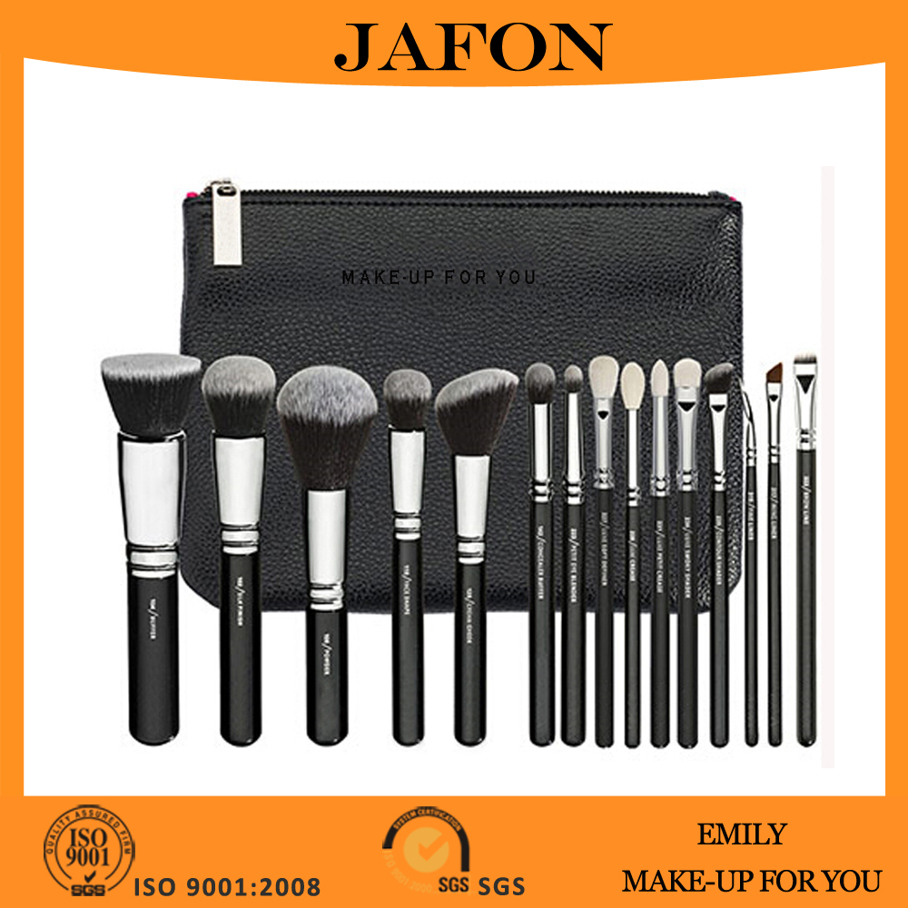 Synthetic fiber professional luxury make up brush set 15 pieces with copper ferrule