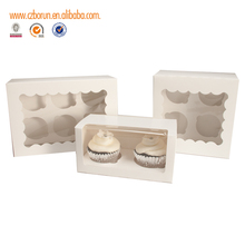 Cheap kraft paper packaging box cupcake /cookie packaging cardboard paper box with clear window