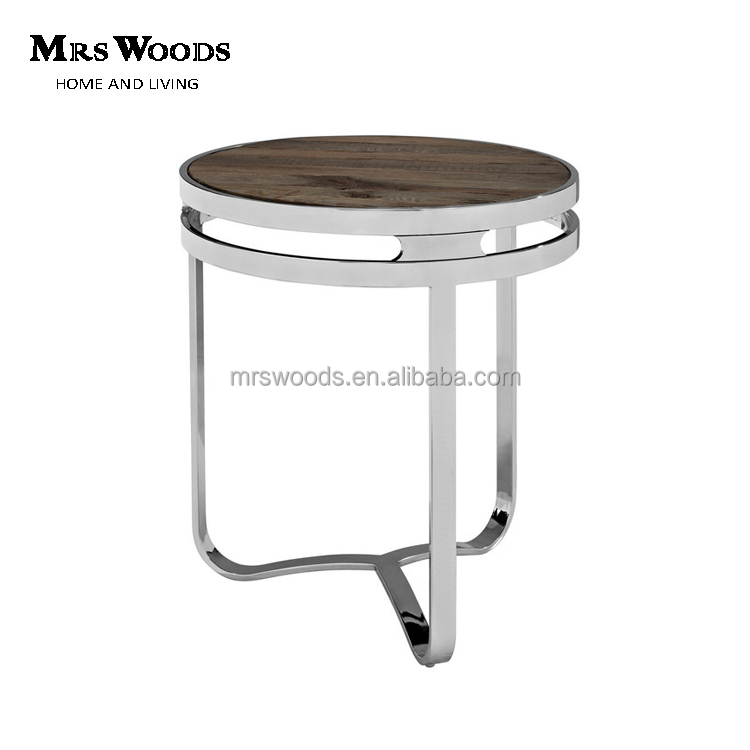 reclaimed wood top stainless steel silver round side table