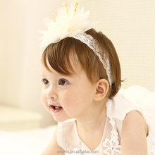 New Baby Girl Lovely Crown Flower Wide Lace Headband Factory Price HB106